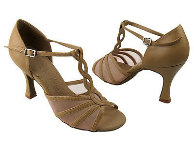 Latin Salsa Very Fine Ballroom Competitive Dance Shoes SERA1692 Beige Brown