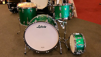 Ludwig Classic Maple 4pc Kit in Green Sparkle 13-16-24-Free 6.5x14 Snare