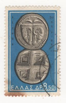 1963 GREECE Ancient Greek Coins. 8d.50 BLUE postage stamp SG#917 Used - RUST