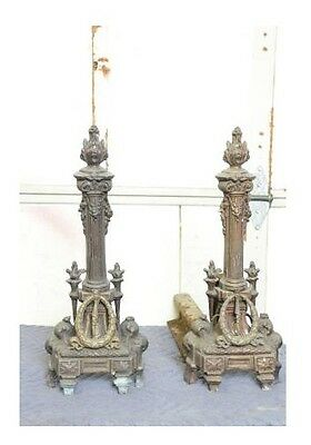 """Rococo antique French, bronze fireplace and-irons  attached to 16"""" RR ste"""