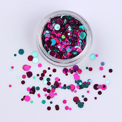 Mixed Purple Blue Nail Ultrathin Sequins Round Nail Art Glitters Decoration #11