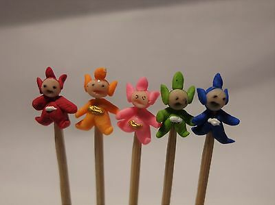 1:12 Hand Made Polymer Teletubbies (5) On A Stick Dolls House Miniature Nursery