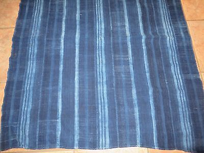 "Vintage Dogon,Mali Indigo Dyed Striped Fabric/Hand Woven Cotton Strips/42""x48"""