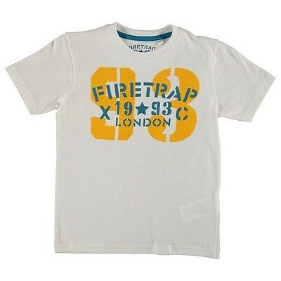 New Boys White Blue & Yellow Short Sleeve Firetrap T Shirt Top- New Size 10-11