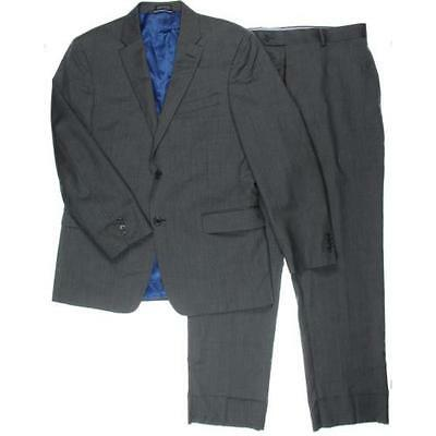Tommy Hilfiger 1300 Mens Gray Wool 2PC Pattern Two-Button Suit 40R 34