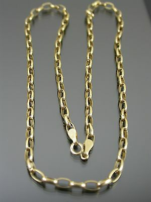 VINTAGE 9ct GOLD BELCHER LINK NECKLACE CHAIN 18 inch C.1970