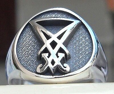 Solid Sterling Silver 925 3D Sigil of Lucifer Seal of Satan Gothic Ring All Size