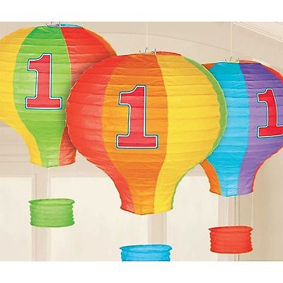 Amscan International 241425 Rainbow 1st Birthday Hot Air Balloon Lantern Deco...