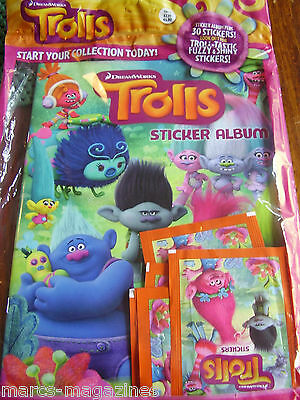 Topps Dreamworks Trolls Sticker Book Album New Unopened & 30 Stickers