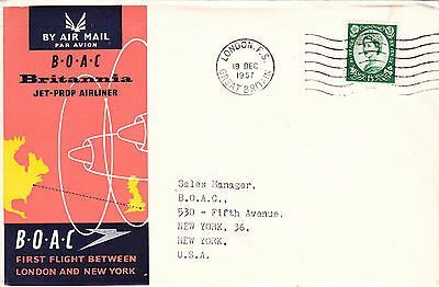 Gb : Boac Britannia Jet-Prop Airliner London-New York First Flight Cover (1957)