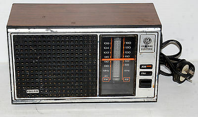 Vintage General Electric Am/fm Radio Model Ea7-4115B Walnut Grain Finish