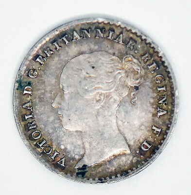 1860 Victoria Maundy Penny Silver Great Britain Coin