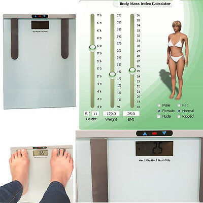 150 KG Digital Body Fat Hydration Monitor Scale Water Height Fat Range Bathroom
