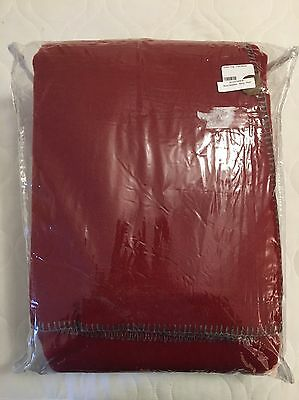 New! $190 Faribault Mills Pure & Simple Blanket. King. Dusted Red. Made In USA