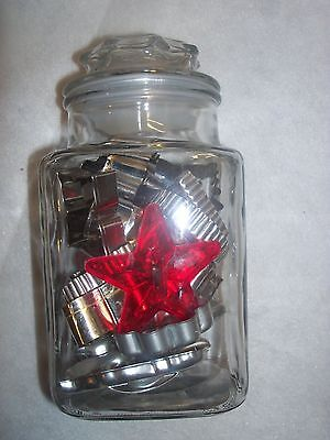 Vintage Glass Canister FILLED WITH 18 VINTAGE COOKIE CUTTERS FOR USE AND DISPLAY
