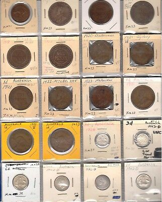 Lot of 23 1917-1951 inc rare 1931 & two 1920 no dot pennies, value over $300