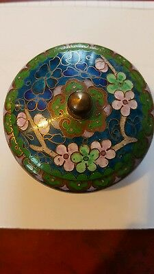 ANTIQUE CHINESE PRETTY  CLOISONNE LIDDED POT TRINKET POT Lovely LOOK