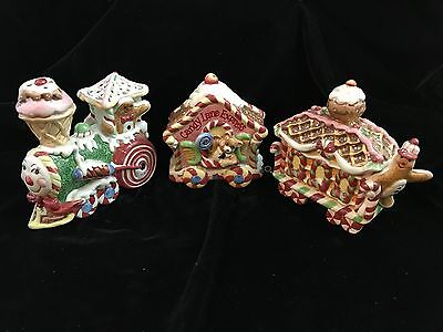 Retired Fitz Floyd Candy Lane Express 3 Piece Train Set in Orig Box & Packing!