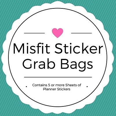 Misfit Grab Bags -  Planner/Diary/Scrapbooking Stickers - 5+ Sheets-Glossy Paper