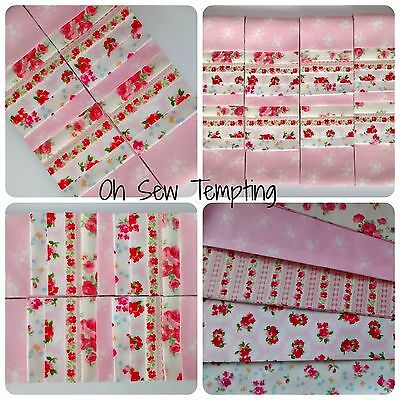 Jelly Roll Fabric Strips 100% Cotton Patchwork Quilting Baby Pink Floral 2.5x42""