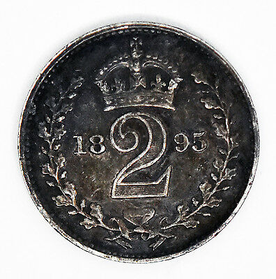 1895 Victoria Maundy Twopence Silver Great Britain Coin