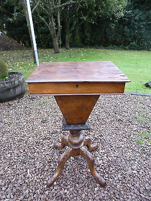 Antique Victorian Walnut Ladies Working Table Sewing Box