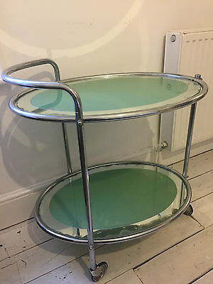 Superb Art Deco Glass And Chrome Savoy Cocktail Trolley