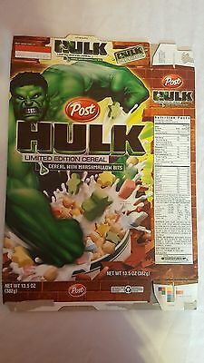 """Post """"HULK"""" Limited Edition Cereal - Empty Cereal Box - 2004"""