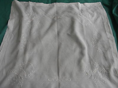Vintage White Embroidered Thread Drawn Table Cloth.