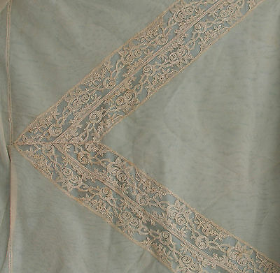 Vintage Cream Lace, Netting  And Light Blue Silk Backed Table Cloth.