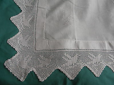 Vintage White Embroidered Filet/ Crochet Edge Table Cloth.
