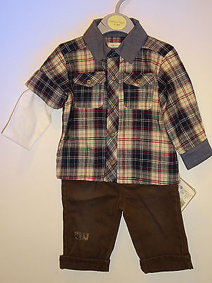 Mamas & Papas Lovely Baby Boys Shirt & Jeans Matching Set 3-6 Months Outfit NEW