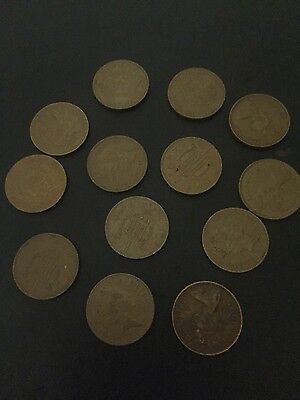 13 x RARE LOT 1p ONE PENNY PENCE COIN 1971, 1973, 1975,1980,1985,1986,1987,1989