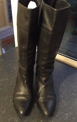 Oasis Black Leather Knee High Riding Boots Size 5 EU 38