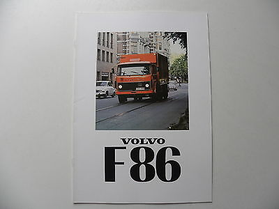 Catalogue brochure camion VOLVO F 86 de 01 / 1978
