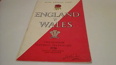 ENGLAND v WALES - Official Rugby Programme 21 January 1956 at Twickenham