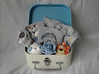 New Baby Boy Gift Christening Basket Hamper