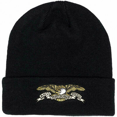 """New with Tags ANTIHERO Skateboards """"Eagle"""" Embroidered Cuff Beanie (Black)"""