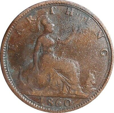 Great Britain Farthing 1860 KM#747.1 Victoria (3916)