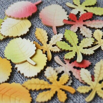 8 Wooden PAINTED Selfadhesive Leaves Embellishment Scrapbooking Decoupage Topper