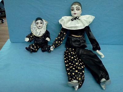 """VINTAGE JESTER Pierrot Clown Doll SET OF 2 New  15"""" and 7.5"""" miniature"""
