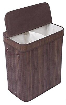BirdRock Home Double Laundry Hamper with Lid and Cloth Liner | Bamboo | Espresso