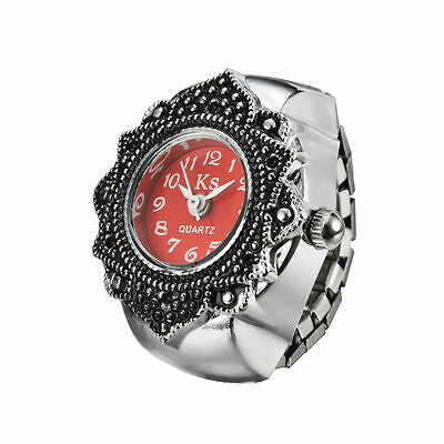 Red Dial Retro Engraved Classic Floral Bezel Finger Ring Watch Quartz Lady Girl