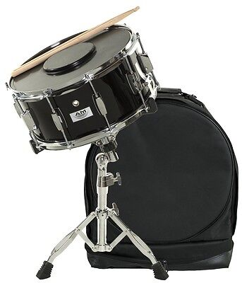 AM Student BLACK Snare Drum Set with Case, Sticks, Stand and Practice Pad Kit