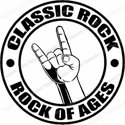 Classic Rock Music Genre Rock Of Ages Edible Icing Birthday Party Cake Topper