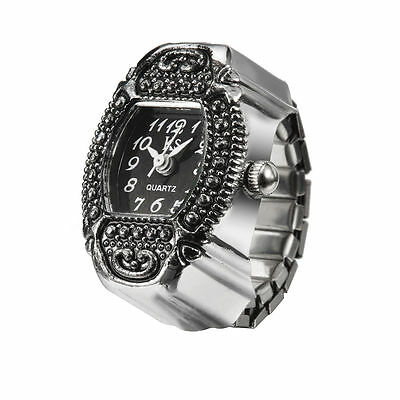 Black Dial Retro Classic Metal Engraved Bezel Steel Finger Ring Watch Lady Girl