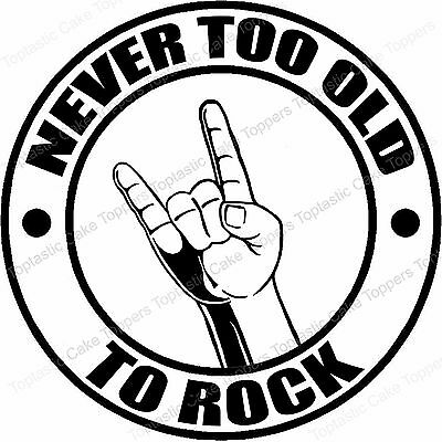 Never Too Old To Rock Music Genre Edible Icing Birthday Party Cake Topper