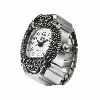 White Dial Retro Classic Metal Engraved Bezel Steel Finger Ring Watch Lady Girl