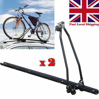 2 X Universal Car Roof Mounted Upright Bicycle Rack Bike Locking Cycle Carrier