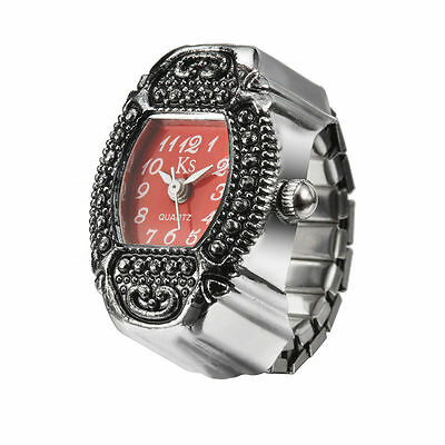 Red Dial Retro Classic Metal Engraved Bezel Steel Finger Ring Watch Lady Girl